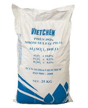 Phèn đơn Nhôm sunphat Al2(SO4)3.18H2O, Việt Nam, 25kg/bao