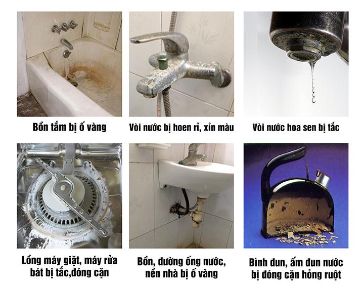 Nước cứng làm ố vàng, cáu cặn canxi vào các thiết bị gia dụng