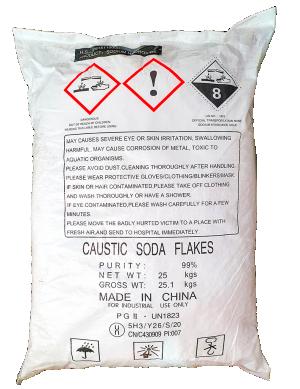 Sodium hydroxide 99% NaOH, Trung Quốc, 25kg/bao