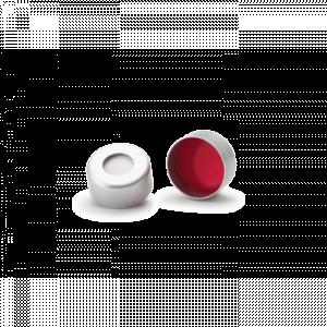 Nắp nhôm nhấn ND11, có lỗ, đệm silicone trắng/ PTFE đỏ Wheaton