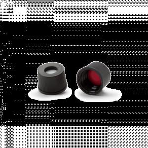 Nắp vặn đen nhựa, ND8, đệm Silicone trắng/ PTFE đỏ, có lỗ Wheaton