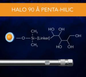 HALO 90 Å Penta-HILIC, 2.7 µm, 2.1 x 100 mm HPLC Column