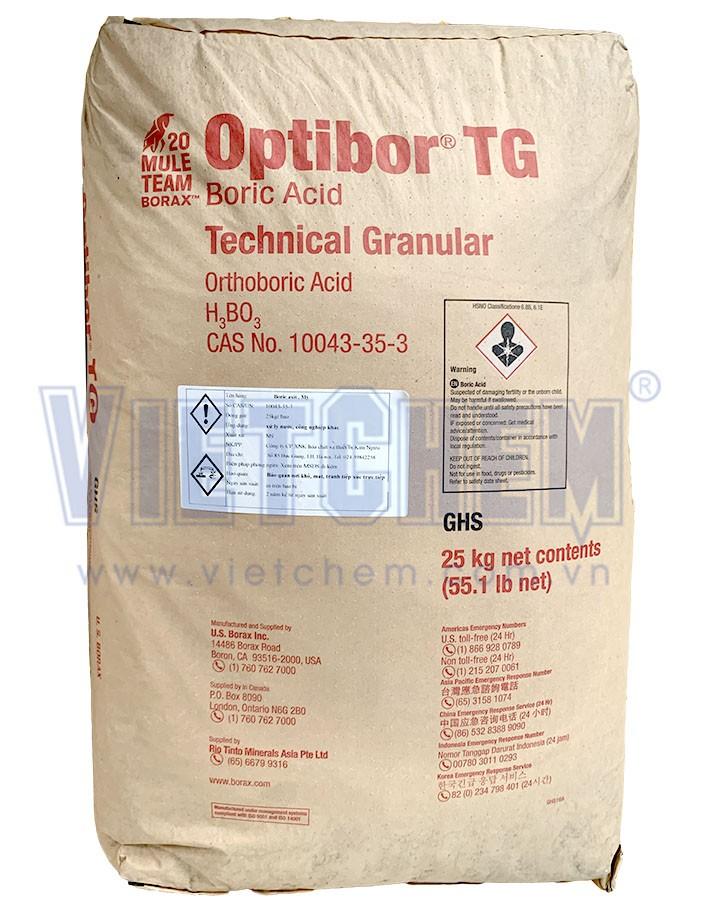 Boric acid H3BO3 99%, Mỹ, 25kg/bao