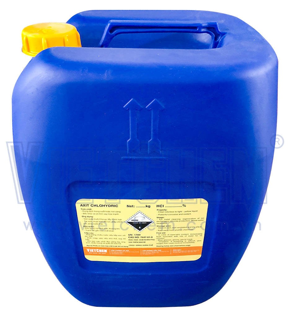 Acid clohydric HCl 30% - 35%, Việt Nam, 30kg/can