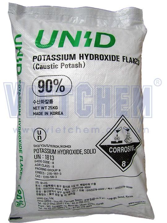 Potassium hydroxide KOH 90%, Hàn Quốc, 25kg/bao
