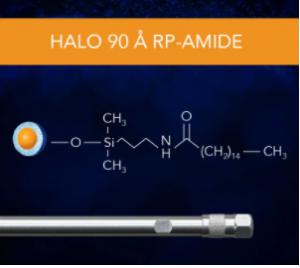 HALO 90 Å RP-Amide, 2,7 µm, 2,1 x 50 mm HPLC Column