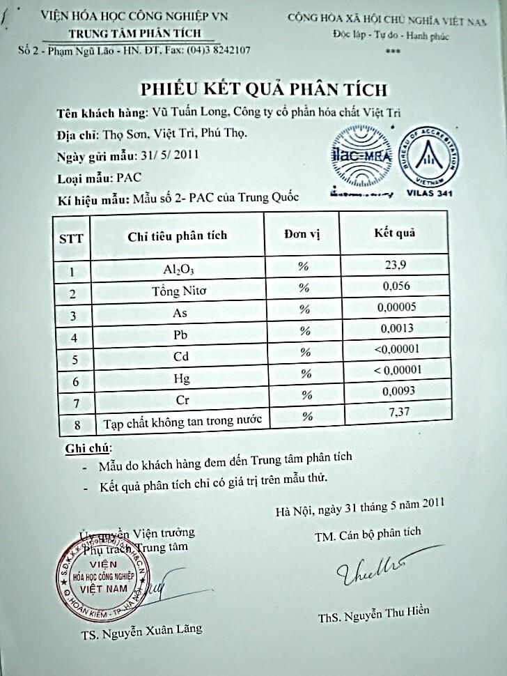 Trên đây là kết quả phân tích ngẫu nhiên sản phẩm PAC Trung Quốc tiêu thụ trên thị trường mà Công ty đã kiểm tra trong quá trình tìm hiểu các sản phẩm PAC tại Việt Nam.