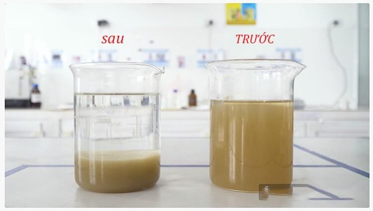 Nước bẩn sau khi được xử lý bằng phèn nhôm sunfat