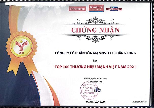 Công ty cổ phần Tôn mạ Vnsteel Thăng Long đạt TOP 100 Thương hiệu Mạnh Việt Nam 2020 - 2021