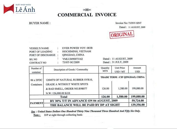 Hợp đồng thương mại invoice