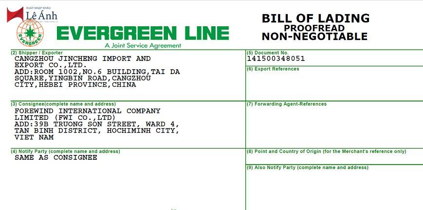Nội dung vận đơn bill of lading
