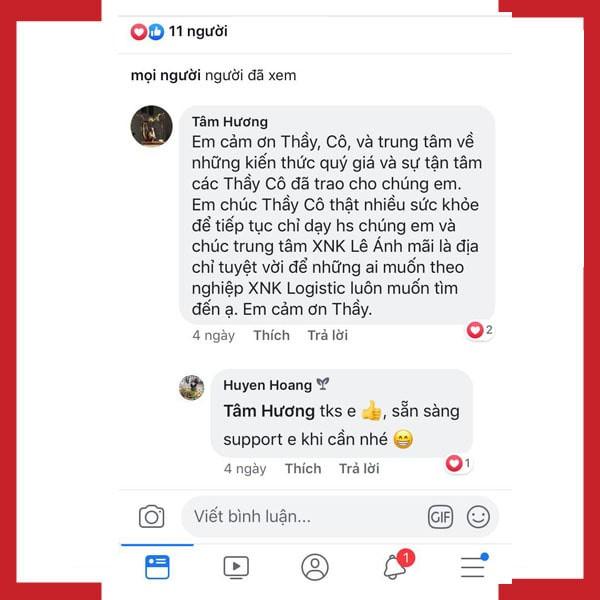phản hồi học viên sau khoá học xuất nhập khẩu tại xnk Lê Ánh